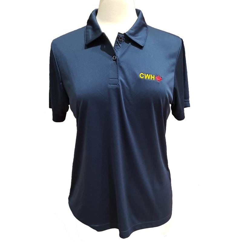 Product Photo of LADIESNAVYCWHPOLO - Ladies Navy Blue CWH Maple Leaf Polo