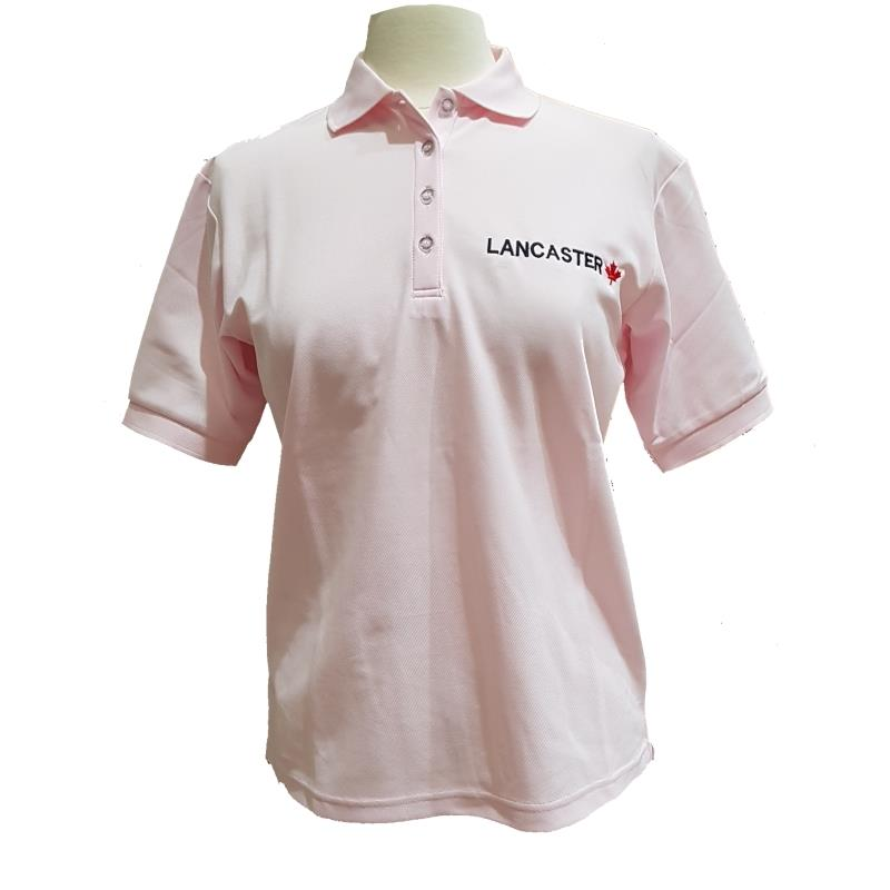 Product Photo of LADIESPINKLANCPOLO - Ladies Pink Lancaster Maple Leaf Polo