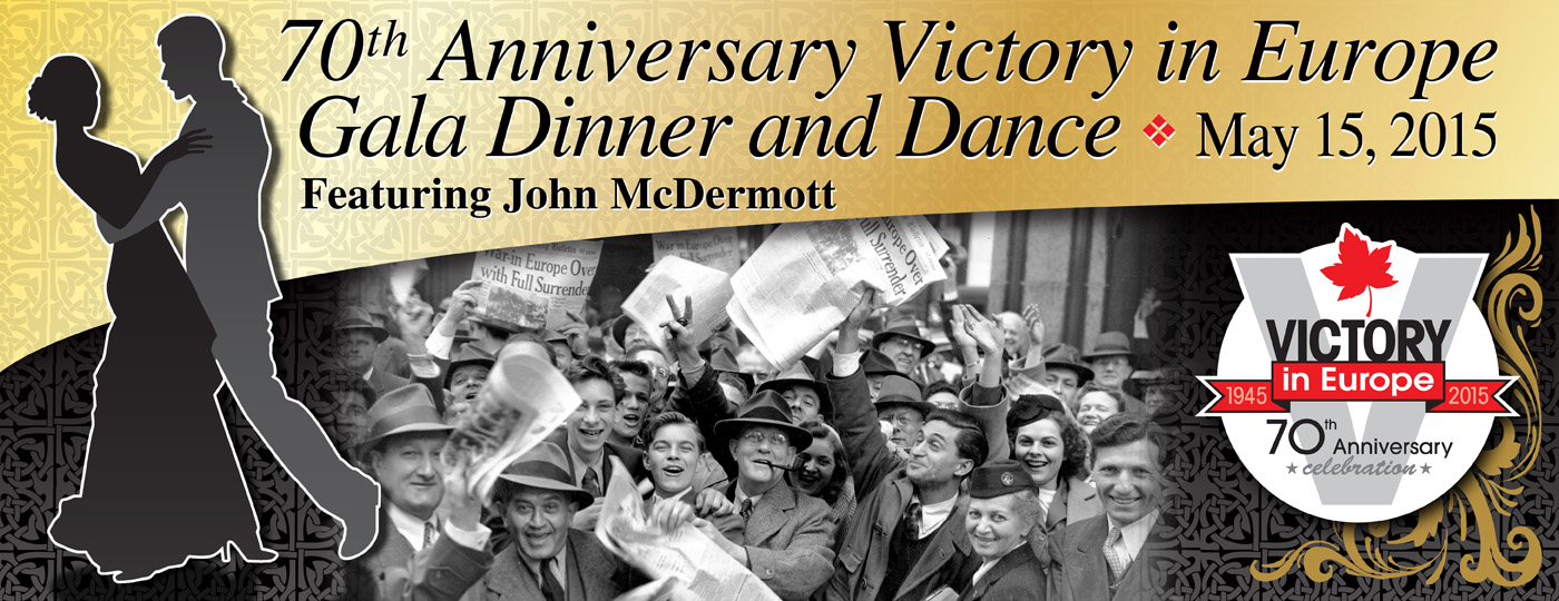 Poster for 70th Anniversary Victory in Europe Gala Dinner & Dance event