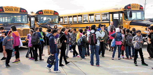 Grade 6 on an Aviation Field Trip arriving at Warplane Museum