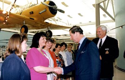 Prince Charles visiting Canadian Warplane Heritage Museum