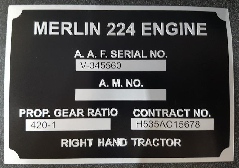 Product Photo of 24325 - Lancaster Engine Data Plate Replica
