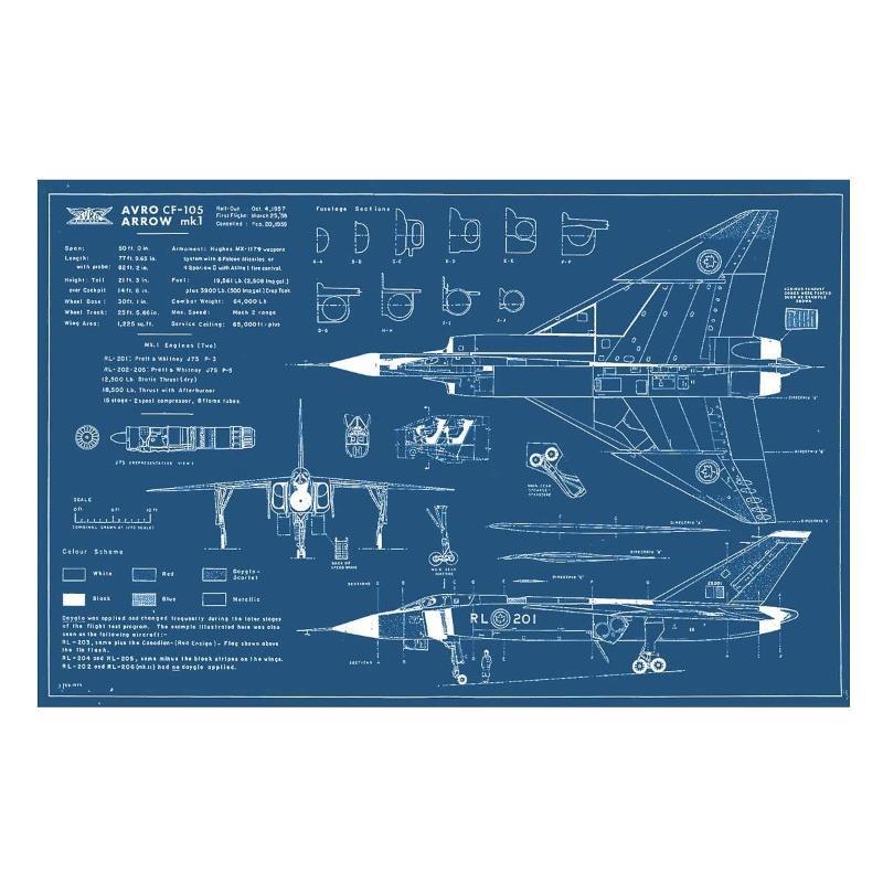 Product Photo of 26981 - Avro Arrow Blueprint Poster