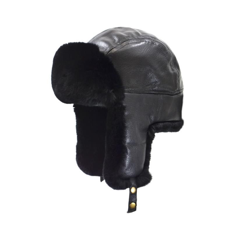 Product Photo of AVIATOR-HAT-TWO - Sheared Rabbit Aviator With Lambskin Cover