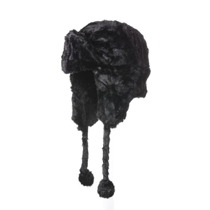 Product Photo of 29077 - Black Soft Pile Aviator Hat