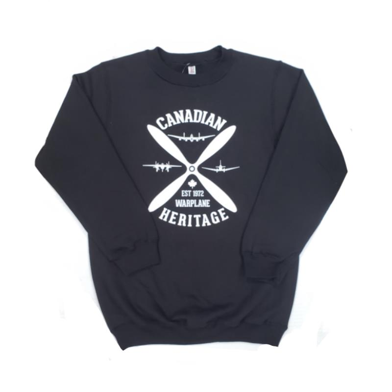 Product Photo of BLACK-PROP-SWEATER - Black Warplane Heritage Museum Propeller Crewneck