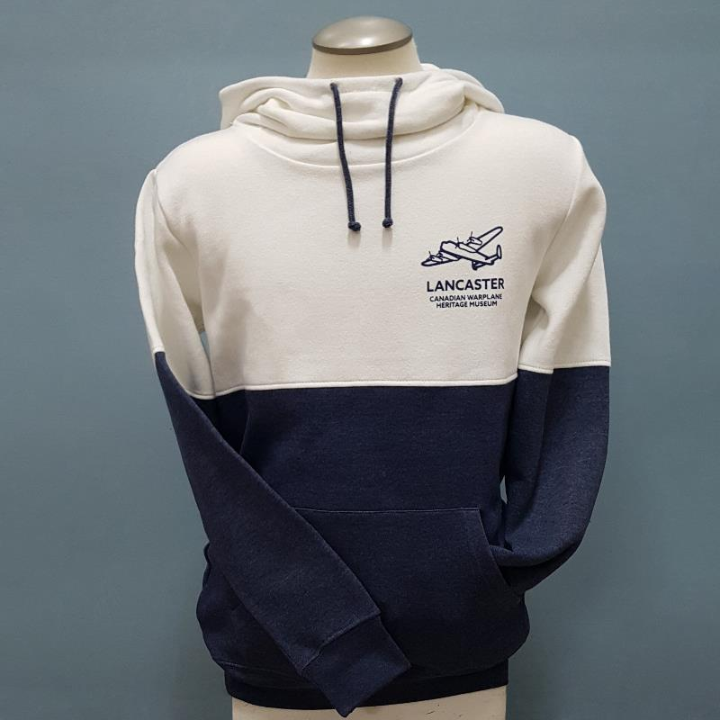 Product Photo of CREAM-NAVY-LADIES-HOODIE - Cream and Navy Ladies High Neck Hoodie