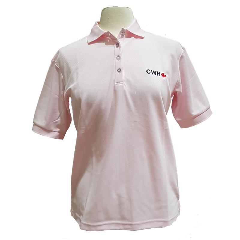 Product Photo of LADIESPINKCWHPOLO - Ladies Pink CWH Maple Leaf Polo