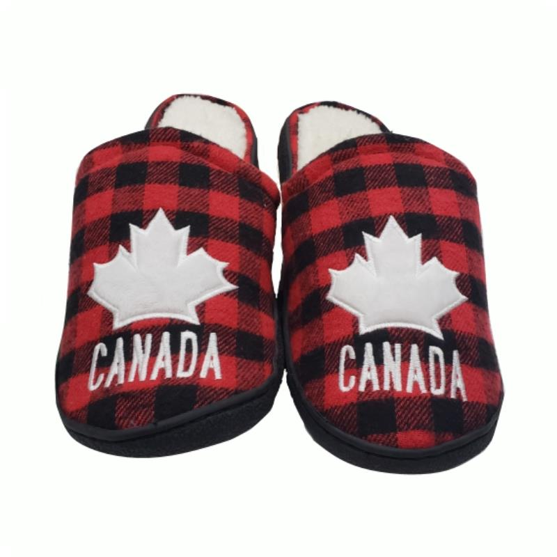 Product Photo of RED-PLAID-CANADA-SLIPPERS - Buffalo Plaid Maple Leaf Embroidered Rubber Soled Slippers