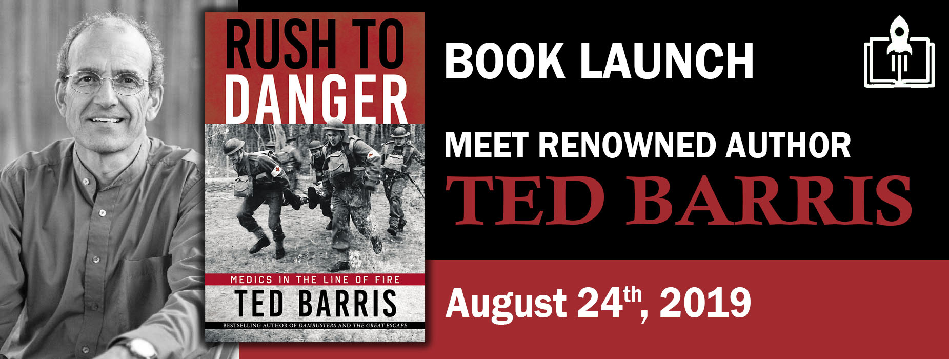 """Banner Image for the """"Rush To Danger"""" Book Launch event"""