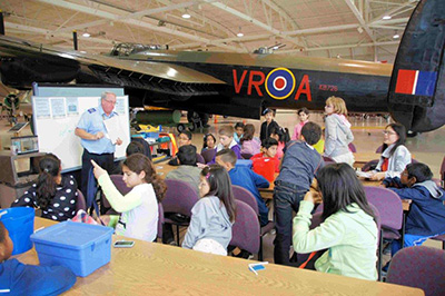 Grade 6 learning on an Aviation Field Trip at Warplane Museum