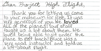 Grade 6 student's testimonial on an Aviation Field Trip at Warplane Museum
