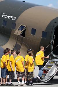 Kids entering a plane